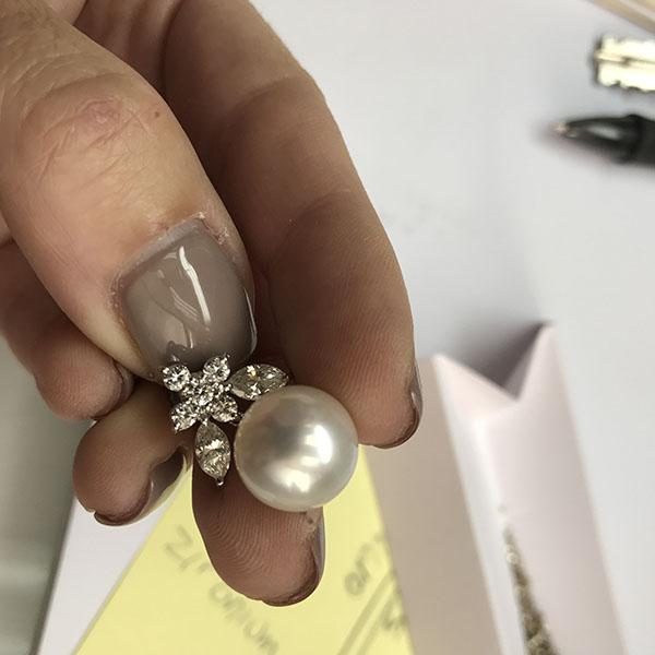 Custom Pearl Diamond Earrings K Rosengart